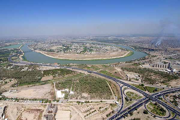 The Tigris River flows through Baghdad, Iraq's capital city
