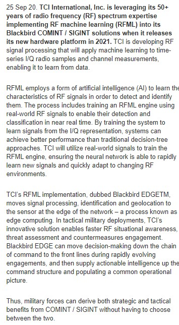 TCI announces plans for radio frequency machine learning (RFML) in 2021